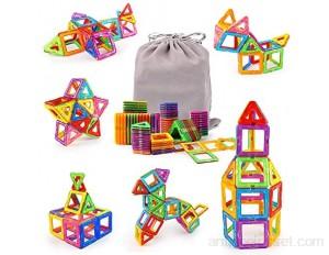Aimant Jeux Construction 64Pcs Blocs Construction Magnétiques Bloc Construction Enfant Jeux de Construction 3D Jouet Éducatif avec Sac de Rangement pour Garçon et Fille à Partir de 3 4 5 6 7 8 9 Ans