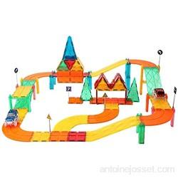 ZWW Piste De Voiture À Carreaux Magnétiques pour Enfants 82 PCS-Bloc De Construction Jouet Éducatif pour Préscolaire | Coffret De Jeu DIY | Kit De Construction De Piste De Voiture De Course STEM