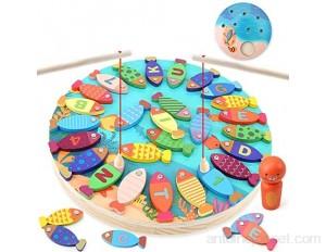 BeebeeRun 2 in 1 Jeu de Pêche Enfant Educatif Jouet Enfant 3 4 5 6 Ans Filles Garçons Jeu de pêche magnétique en Bois de Alphabet Magnétique 40 Pièces