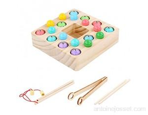 POHOVE Montessori Jeu de pêche en bois pour tout-petits préscolaires Jouets de pêche ronds en bois Jouets de pêche magnétiques pour enfants de plus de 3 ans