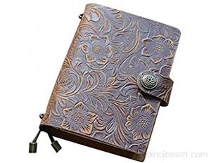 YLLAND Vintage Journal de Voyage Cahier pour Ordinateur Portable Cuir embossé en Cuir de Presse de Presse Notes de Croquis Sketchbook LNNDE Color : Abrown