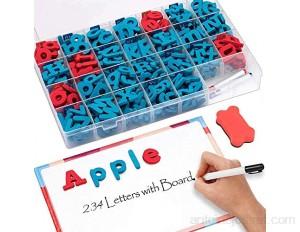 Kit de lettres magnétiques pour salle de classe 234 pièces avec tableau magnétique double face – Lettres de l'alphabet en mousse pour enfants orthographe et apprentissage--petits