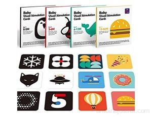 Jouet Bébé pour 0 3 6 12 36 Mois Carte Flash Blanc et Noir pour Tout-Petits/Bébé 80 Pcs Contraste Élevé Cartes de Contraste Conçues pour Jouets de Bébé Nouveau-Né Cartes de Stimulation Visuelle