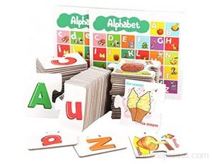 SunniMix Illustrations Animaux Alphabet Flash Cartes d'apprentissage Éducatifs Enseignement Cognitive Compétences Majuscules Minuscules ABC Lettres Maternelle