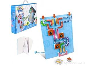 Bille DIY Magnétique Tracks Marble Run Jouet Labyrinthe Jeu de Société Assemblez Le Jeu de Jouets Educatif Cadeau pour Enfants Fille Garçon 6 7 8 9 Ans