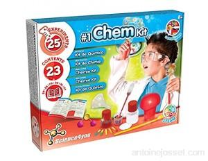 Science4you - Premier Kit de Chimie pour Enfants +8 Ans - Laboratoire Science avec 25 Experiences Scientifiques dond des Lunettes de Chimie pour Le Petit Chimiste 8 Ans Activite Manuelle et Educatif