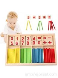 Sunshine smile Montessori Bâtons Blocs et Bâtons de Comptage Tiges de Calcul en Bois Bâton d'intelligence de Comptage de Nombre pour Enfants Montessori Math Jouet en Bois A