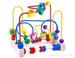 Cutogain Jeu de Perles en Bois Fruits Perles Insectes Abacus Toys Formation de l'attention de l'enfant Fruits en Bois Perles Insectes Labyrinthe activités sur Les Montagnes Russes
