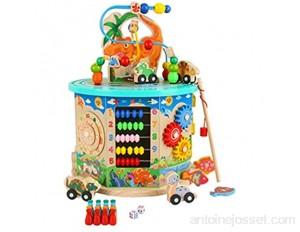 Labyrinthe de bébé Activité en bois Cube Way Bead Bead Roller Roller Coaster Jouet Bébé sensoriel Avec Abacus Trieur de formes d'horloge et Boîte de jeu éducative multifonctions de curseur 2 ans et pl