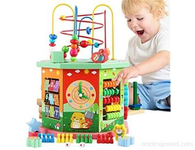 SuDeLLong Activité en Bois Cube Bead Maze Apprentissage des Jouets éducatifs Centre d\'activités pour Les bébés Babies Babies Enfants Girls Cube Perle Maze Labyrinthe de Perles Amovible