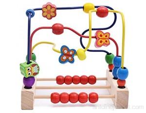 YLiansong-home Activité Cube Perle Maze Toddlers Perle Maze Roller Roller Coaster Circle Cercle Jouets Éducatif Abacus Perles Jeu pour Garçons Filles Baby Cadeau Cube d'activité en Bois