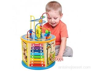 Elover Cube de Bois d'activité 8 en 1 Bébé Jouets Multi-Usage de Jouets Labyrinthe de Perles Cadeaux pour Enfants