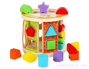 Yaunli Activité éducation précoce Jouet Cube Activité de Blocs en Bois Cube Toy Box bébé occupé Play Centre d'apprentissage et de Jouets éducatifs Jouet Cube d'activité en Bois
