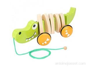 Jouet à tirer en bois jouet de corde en bois jouet à tirer à pied-un-long jouet à tirer en bois Crocodile pousser et tirer jouet pour tout-petit