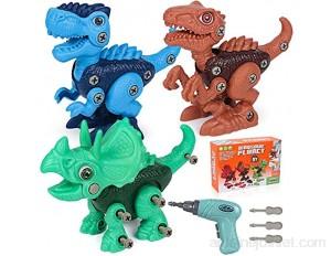 Démontage Dinosaure Jouet Garçon Bricolage Dinosaure Jeux de Construction Dinosaures avec Tournevis Électrique Tyrannosaurus Tricératops Vélociraptor STEM Jouet Cadeau pour Enfant Garçon 4 5 6 7 8 ans