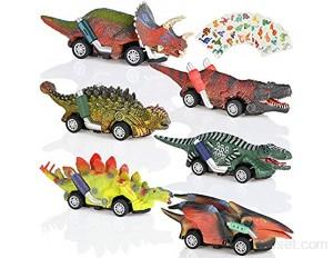 GOLDGE Voiture Jouet Dinosaure Garçon Jouet Voiture de Dinosaure pour Enfant Jouet Fille Garçon Cadeau de D'Anniversaire Noël 6 pcs Dinosaure Voiture et 10 pcs Dinosaure Autocollants
