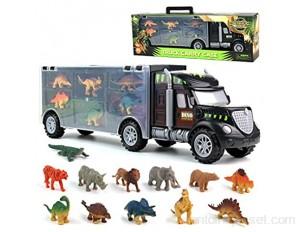 Jouet de Camion de Transporteur Voiture de Jouets Dinosaure avec 12 Mini Dinosaures Animaux Jouets Porteur Camion de Dinosaure éducatif pour Enfants Garçons Filles 3 Ans