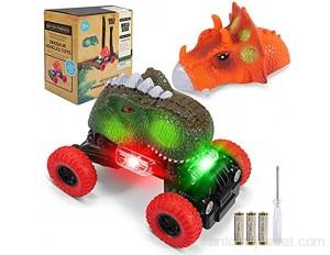 joylink Voitures de Dinosaures Dinosaure de Voiture Jouets pour Enfants avec Drôle Effet Lumineux et Sonore Véhicules Dinosaure Automatiques Dino Cars pour Enfants Filles 3-8 Ans