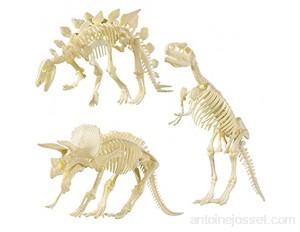 NUOLUX NUOLUX 4D Dinosaures Fossil Squelette Assortiment de jouets DIY 3 pièces Dino os os fossiles pour enfants garçons filles