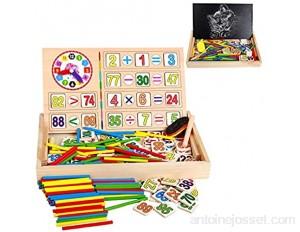 ZoneYan Montessori Bâtons Jouets Éducatifs Montessori Math Jouet en Bois Montessori Mathematiques Bâtons de Comptage Montessori Boite d Apprentissage Jouet Compter Horloge Chiffres
