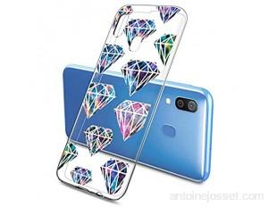 Oihxse Mode Motif de Diamant Case Compatible pour Samsung Galaxy A80/A90 Coque Silicone Ultra Mince Transparent Souple Bumper Crystal Clair Anti-Rayures Antichoc Protection Cover Diamant 6