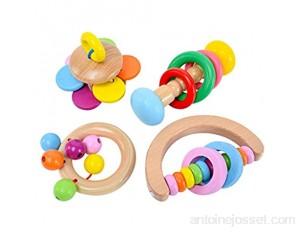 unkonw Montessori Lot de 4 hochets en bois pour bébé