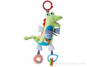Fisher-price Crocodile D'activités Peluche Bébé avec Motifs et Textures 2 Jouets Hochets et Anneaux Suspendus inclus Emballage Fermé dès la Naissance Fdc57