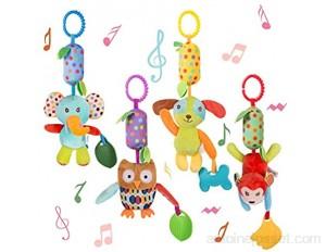 WolinTek 4 Pack Jouet de Poussette pour Bébés Berceau Hochet Jouets Animales Jouets Suspendus pour bébés Landau Jouets Doux de bébé de hochets pour garçons et Filles
