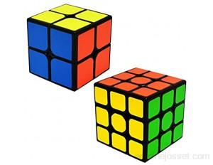 EASEHOME Speed Cube Ensemble 2x2x2 + 3x3x3 2 Pack Magic Puzzle Cube Set Magique Cubos avec Autocollant de PVC pour Enfants et Adultes