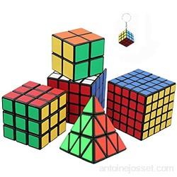 Ensemble de Six Awesome Magic Cubes incl. Pyraminx 2x2 3x3 4x4 5x5 Puzzle Cube + mini jeu Cube Keychain