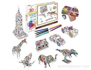 Pajaver Ensemble de Puzzle à Colorier 3D Art de Coloriage Peinture 3D Puzzle pour Enfants Filles Garçons 6-12 Ans Kit de Puzzle Bricolage Arts Crafts 9 Pcs Puzzles avec 10 Marqueurs