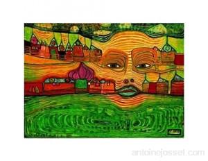 International Publishing Artstones 5801N30056Puzzle 1000pièces Hundertwasser 691Irinaland Over The Balkans 5001 3cm