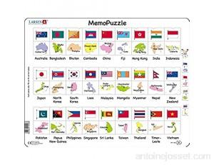 Larsen GP7 MemoPuzzle: Noms Drapeaux et Capitales de 27 Pays d'Asie et du Pacifique édition Anglais Puzzle Cadre avec de 54 pièces