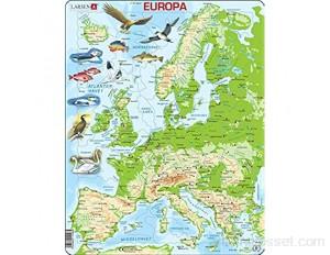 Larsen K70 Carte Physique de l'europe édition Norvégien Puzzle Cadre avec de 87 pièces