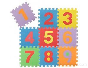 com-four® Puzzle de Sol 9 pièces Tapis de Puzzle Souples avec Les Chiffres de 1 à 9 idéal pour Les Enfants à partir de 2 Ans [Le mélange de Couleurs varie] Nombres
