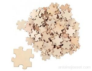 BELLE VOUS Puzzle Vierge en Bois 100 Pièces - 4 5 x 3 8 cm - Puzzle Tranche de Bois Brut pour Les Jeux d'Enfants Bricolage et Livre d'Or