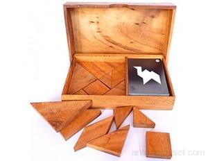 Logica Jeux Art. Double Tangram - Casse-Tête Géométrique en Bois Précieux - 65 Puzzles en 1 - Jeu Éducatif pour 1-2 Personnes - Version de Voyage