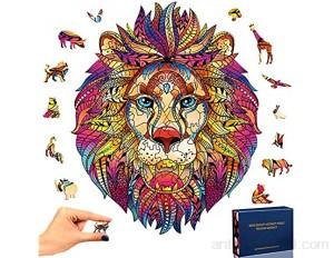 SPECOOL Puzzle en Bois Mysterious Lion 3D Puzzle Coloré Unique Forme Animale Jigsaw Pieces Puzzle en Bois Meilleur Cadeau pour Adultes et Enfants Collection de Jeux de Famille Lion