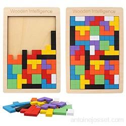 Vegena Puzzle Tetris Tangram 2 Pack Bois Puzzles Tangram Jigsaw Jouet Casse-tête pour Les Enfant Brain Scie sauteuse Tableau Kid bébé Intellectuelle Educational Tetris décontracté Jouets