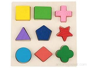 Zerodis Puzzle Géométrique de Construction Blocs D'empilage Montessori Jouet en Bois Educatif Jeux de Paires et De Mémoire Cadeau d'anniversaire pour Enfants Filles Garçons #1