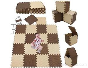 A-Generic 25 pièces Puzzle Puzzle Moquette Moquette Mousse Mousse Puzzle Jeux éducatif Tapis pour Tapis de la Petite enfance Taille carrée Blanche -bre Blanc-Marron-Beige Tapis Mousse Puzzle_18PCS