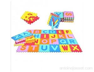 GOPLUS 36 Pièces Tapis de Jeu pour Enfant Bébé Tapis de Puzzle en Mousse Souple Alphabets & Chiffres Isolation Contre Bruits Eraflures