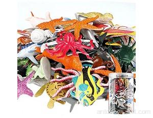 80 Pièces Figurines d'animaux Marins de l'Océan Jouet de Bain Animal en Plastique Réaliste sous la Vie Marine avec Boîte de Rangement pour Salle de Bain Piscine