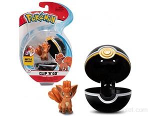 Pokemon Clip 'N' Go Vulpix Goupix & Poké Ball | Contient 1 Figurine de 5 cm et 1 Poké Ball | Nouvelle Vague 2021 | Licence Officielle