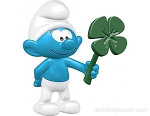 Schleich- Schtroumpf avec Trèfle Smurfs Figurine 20797 Bleu